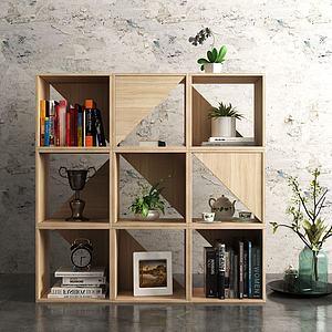 北欧实木书柜模型