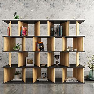 北欧实木书架模型