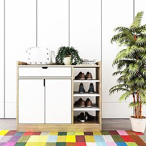 北欧实木鞋柜模型