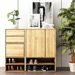 实木鞋柜模型3d模型