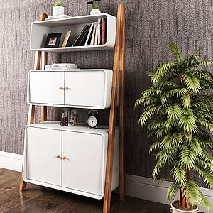 北欧书柜装饰柜模型