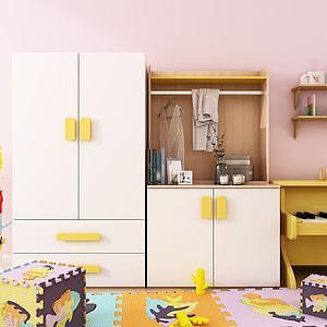 北欧儿童衣柜饰品服饰书籍3d模型
