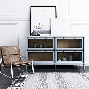 现代边柜饰品休闲椅模型