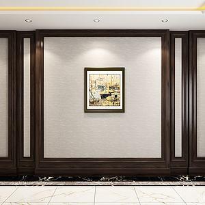 美式电视墙沙发背景墙3d模型