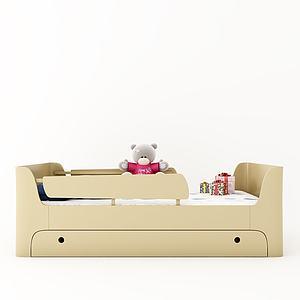 现代儿童床婴儿床模型