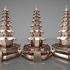 新中式摆件组合模型