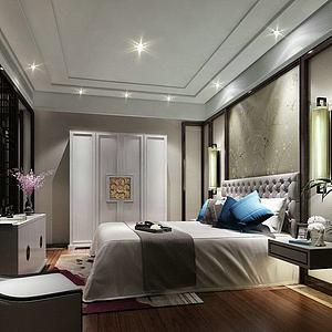 现代卧室双人床模型3d模型
