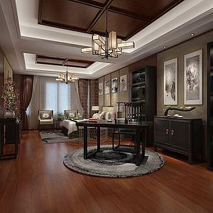 新中式卧室书桌模型3d模型