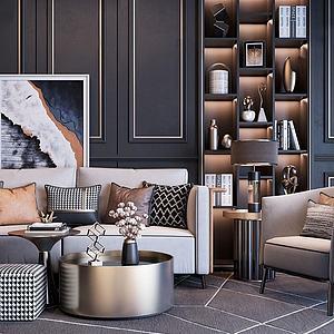 现代轻奢沙发茶几组合模型