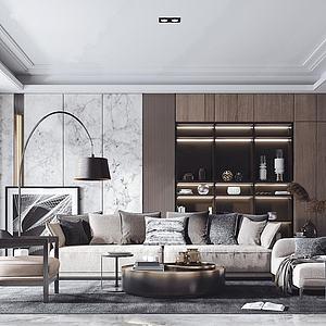现代轻奢沙发茶几休闲单椅模型