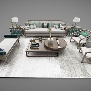 新中式沙发座椅茶桌模型