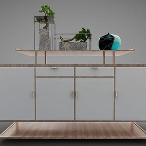 新中式边柜置物柜模型