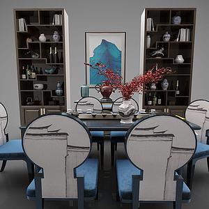 新中式桌椅组合置物柜?#19968;?#27169;型