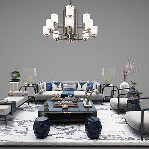 新中式沙发茶几水晶灯桌椅模型