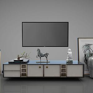 新中式电视柜边柜?#19968;?#25670;件模型