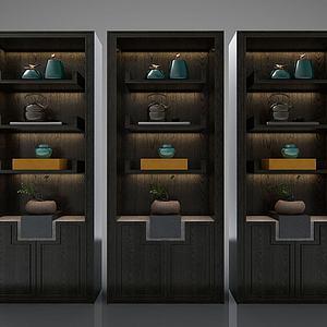新中式风格书架书柜模型