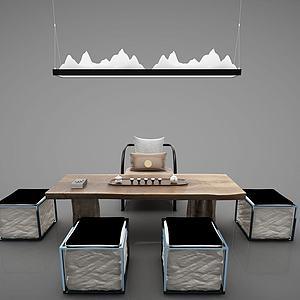 新中式餐桌茶桌模型
