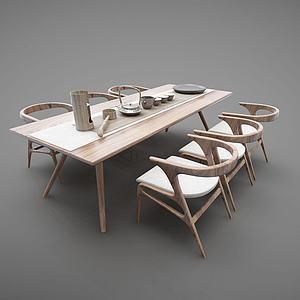 新中式茶桌餐桌模型