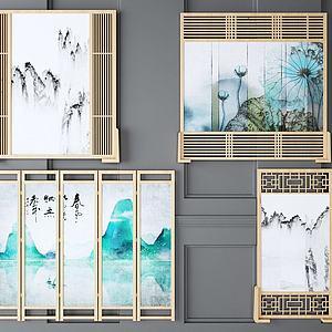 新中式山水屏风隔断组合模型