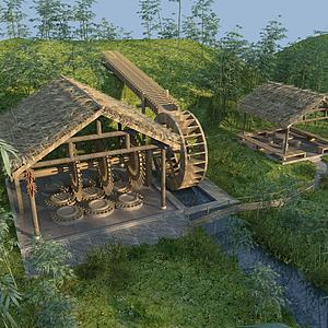 水車磨坊園林景觀模型3d模型