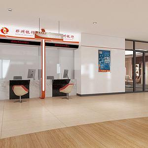 银行业务窗口业务大厅3d模型