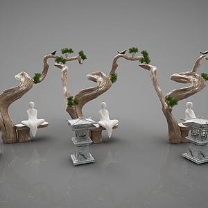 新中式装饰品摆件模型