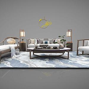 新中式沙发茶几罗汉床模型