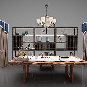 新中式书桌椅模型