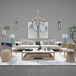 新中式沙发茶几水晶灯?#19968;?#27169;型
