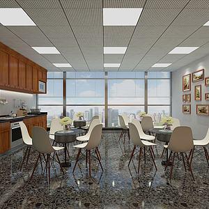 公司餐廳桌椅組合模型3d模型
