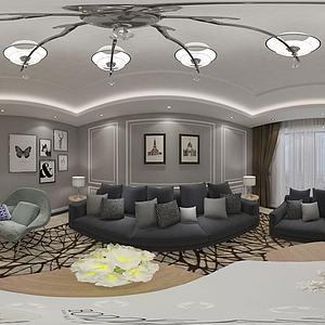 现代客厅餐厅沙发组合模型