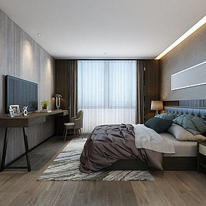 现代简约卧室双人床模型3d模型