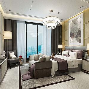 现代卧室双人床吊灯模型3d模型