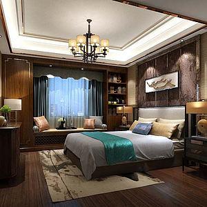 新中式卧室双人床模型3d模型
