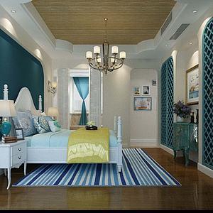 地中海风格卧室模型3d模型
