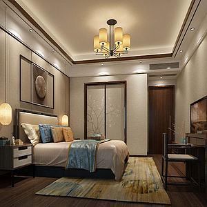 新中式客房卧室模型3d模型