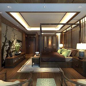 新中式卧室客房双人床模型3d模型