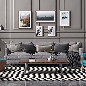 现代北欧客厅3d模型