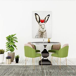 现代桌椅组合模型