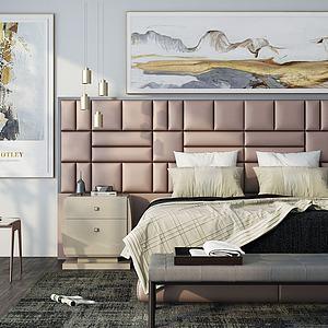 现代床具组合模型