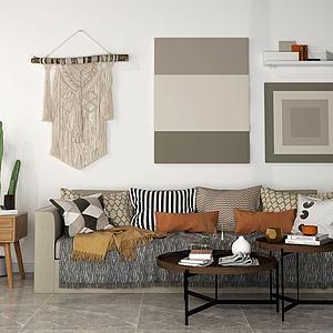 现代简约沙发茶几组合模型