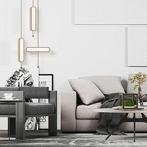 现代简约沙发茶几组合3d模型