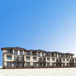 欧式联排别墅3d模型