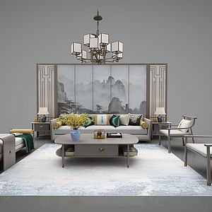 新中式家具组合3d模型