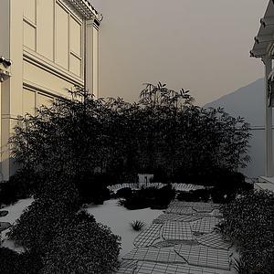 中式小院模型