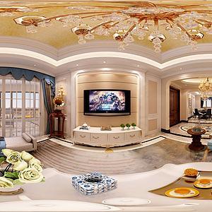 欧式客厅卧室全景模型