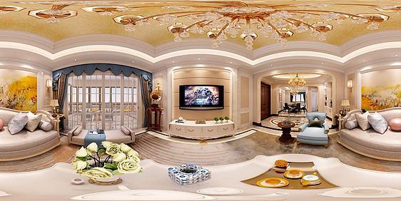 3d欧式客厅卧室全景模型