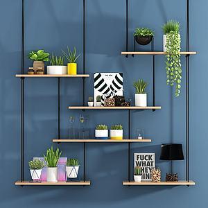 墙上植物挂栏置物架模型