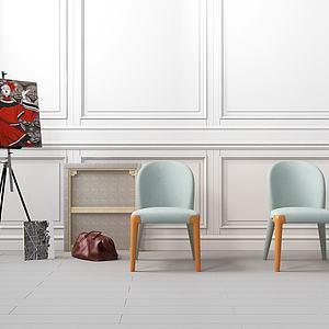 现代单椅组合模型