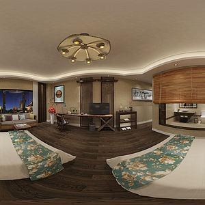 新中式酒店民宿客房模型